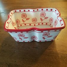 Temp-tations QVC 1qt Red White Daisy Dish Baker Oven Cookware