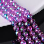 30pcs 10mm Plated&Painted Round Crystal Glass Loose Spacer Beads Pink&Blue
