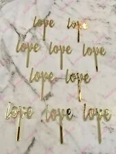 10 x Love Acrylic Gold Mirror Cupcake Topper For Wedding and Engagement