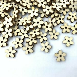 500pcs Mini Natural Wooden flower shape scrapbooking decoration Handmade 10MM
