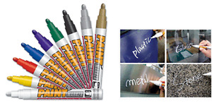 12x Mungyo SILVER PAINT MARKER OIL BASED PERMANET-WOOD GLASS STONE METAL RUBBER