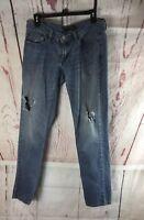 Levi's Women's Too Superlow 524 Jeans Distressed Size 7 Cotton Blend