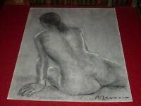 [ANDRE LANDAUD 1924-2013] NU FEMININ Grd Dessin Fusain-pastel papier blanc 65X50