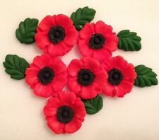 Red Poppy Bouquet - Edible Sugar Paste - Cup Cake Decorations, Toppers