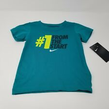 New Nwt Baby Boys Nike Tshirt Green #1 From The Start Size 24 Months