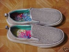 Faded Glory Girls Silver Sparkly Glittery Casual Slip-on Shoes Size 4