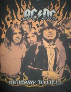 Retro 2009 AC / DC HIGHWAY to HELL (MED) T-Shirt ANGUS YOUNG BON SCOTT