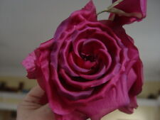 LARGE PURE SILK BURGUNDY ORGANZA  SPRAY of  ROSES & BUDS