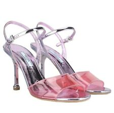 PRADA PINK TRANSPARENT STRAP METALLIC HEEL SANDALS HEELS SZ 37/7 BAG SNEAKERS