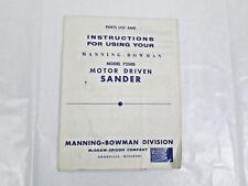 Manning Bowman 72500 Motor Driven Sander Orig Parts List and Instruction Manual