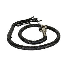 """42"""" Long Genuine Hand-Braided Black Leather Get Back Whip for Harley FAST SHIP"""