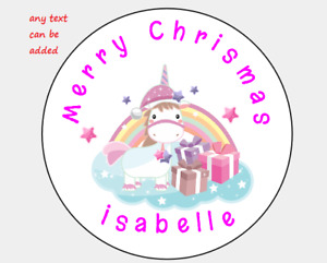 PERSONALISED STICKERS ADDRESS LABELS CIRCLE CHRISTMAS DELIVERY UNICORN PINK