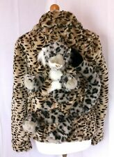 Mad KITSCH faux leopard skin coat with 3D leopard. size 10, crazy revamped arty.
