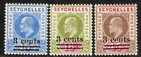 Seychelles 1903 Surcharges set of 3 crown CA mint SG57/58/59