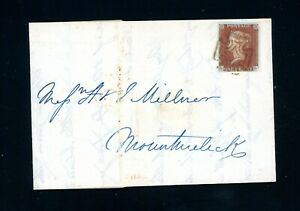 GB  1843 Penny Red Cover from Ireland, Maltese Cross  very fine (O437)