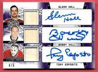 2019-20 Bobby Hull - Glenn Hall - Tony Esposito Leaf Lumber Kings Auto Stick 4/6