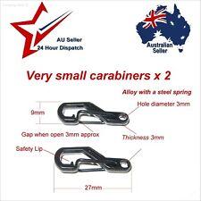 Very Small Alloy Carabiner Clip Hook x 2 keyring joiner clips thin cord keys key