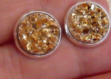 GOLD SPARKLING DRUZY RESIN ROUND CLIP ON EARRINGS 12MM