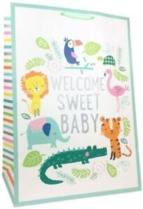 """Spritz - XLarge """"Welcome Sweet Baby"""" Jungle Colossal Gift Bag"""