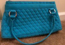 Vera Bradley Microfiber Handbag - Blue w/ Green Interior - Purse - Shoulder Bag