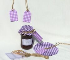 JAM COVERS PURPLE GINGHAM x12+ sticky jar labels+tags+twine fit jar lids 54-73mm