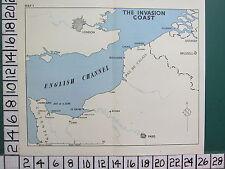 WW2 MAP ~ ENGLISH CHANNEL LONDON CALAIS DUNKIRK INVASION COAST LE HAVRE PARIS