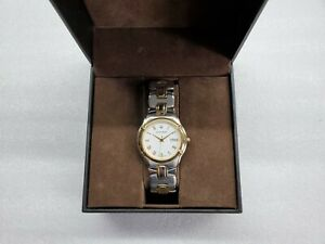 ACCUTRON BARCELONA WHITE DIAL DATE TWO-TONE ST. STEEL MEN'S WATCH 28B59 NEW