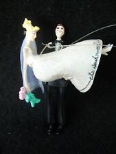 Groom Carrying Bride Newlyweds Christmas Ornament!  4 INCHES!  GLITTER