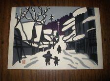 "SMALL Outstanding KIYOSHI SAITO NOS Woodblock PRINT Chop SIGNED 6.25"" SNOW SCENE"