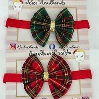 Tartan Fabric 3 Inch Bow Baby Headband Glitter Baby Girls Christmas + Lot