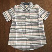 Gymboree Boy's Shirt Short Sleeve Button Down Collar Shirt Size XS 4 Striped NEW