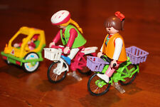 Playmobil 3068 6388 (2) bikes, one with baby's trailer, women and baby