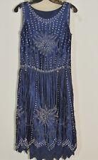 1920's - 1930's Blue Silk Crepe Heavily Beaded / Rhinestone Flapper Dress SM