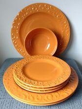 "Signature Housewares ~ ""De La Vina"" ~ Sweet Potato Orange ~ 6 PLATES and a BOWL"