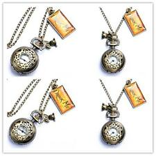 Alice In Wonderland Drink Me Pocket Watches Necklace Pendant Rabbit Flower Key1T
