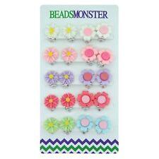 Color Daisy Flower N Sunflower Clip on Earrings Gift for Little Teen Girls Kids
