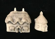 Vintage Set of Two Ceramic Thatched Cottage House Unpainted Miniature English?