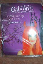 Halloween Devil Red Wig With Horns & Sequin Devil Tail Pitchfork Horned Headband