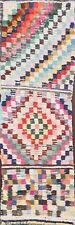 Antique Geometric Moroccan Oriental Runner Rug Handmade Modern Wool Carpet 2'x8'