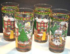 VINTAGE 1996 SET OF (4) CHRISTMAS HOUSE TREE HIGHBALL / TUMBLER GLASSES SIGNED