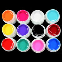 12 Pcs Mix Color Pure Solid UV Builder Gel Set for Nail Art False French Tips