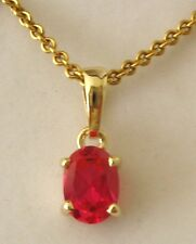 GENUINE  SOLID  9K 9ct  YELLOW  Gold  JULY  BIRTHSTONE  RUBY  Pendant