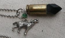 Werewolf Charm Necklace w/ real 9mm casing,acrylic crystal -steampunk,fantasy