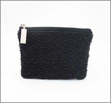 Seed Bead Black Purse, 12cm x 10cm ..... beaded bag . clutch