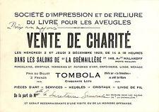 CARTE VENTE DE CHARITE TOMBOLA PARIS LA CREMAILLERE 1925