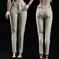 1/6 Beige Pencil Pants Trousers Clothes Fit 12'' Female Action Figure Body Toy