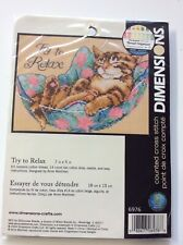 """DIMENSIONS   """"Try To Relax""""    Counted Cross Stitch"""