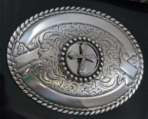 Crumrine CROSS Silver Oval Belt Buckle ROPE TRIM M & F Western Roper 3806445