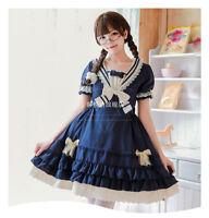 Japanese Style Sweet Lolita Dress Short Sleeve A-line Skirt One Piece Navy Blue