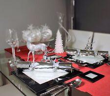 Nuevo conjunto de seis Manteles individuales de vidrio negro con cristales de Swarovski Mesa de comedor de la cena
